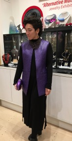 Quilted lambskin vest by Toshiki and Maryszka, Jeffrey Levinson evening bag, Susan Green beaded necklace