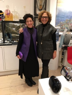 Jasemin wearing our new purple vest, Leeor in her own vintage piece of ours