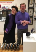 Purple! seemed to be the color of the night. Handbags by Jeffrey Levinson....gallery director Bruce Hoffman